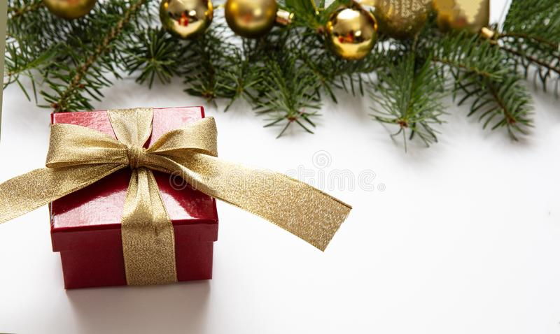 Christmas gift and decoration on white color background royalty free stock photos