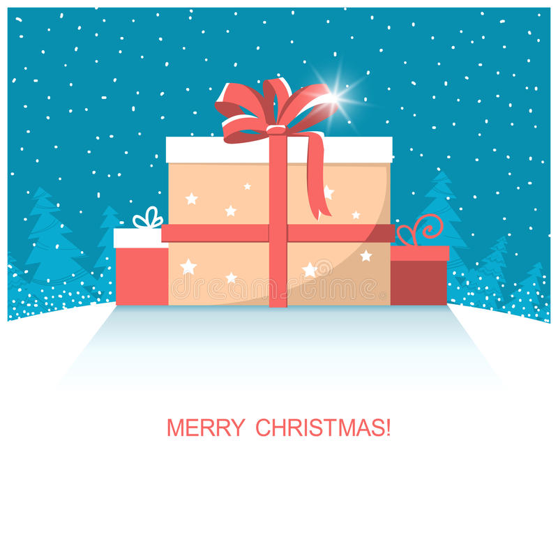 Christmas present gifts on winter snow landscape. Vector illustration with text vector illustration