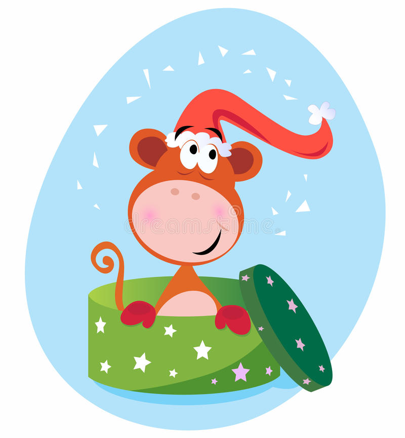 Christmas present: Monkey in green box stock illustration
