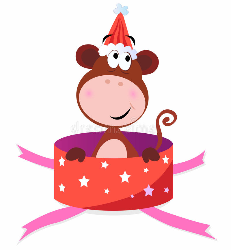 Christmas present: Monkey in red box royalty free illustration