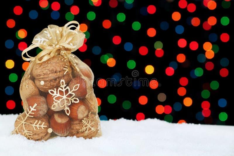 Christmas present in the snow. stock photos
