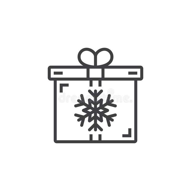 Download Christmas Present Symbol Gift Box With Snowflake Line Icon Out Stock Vector