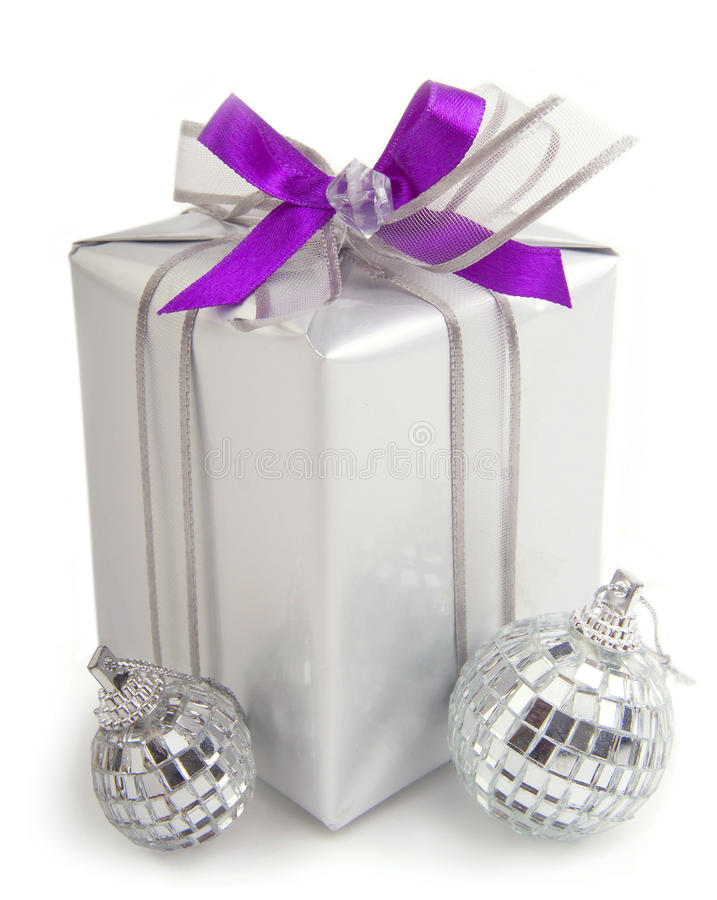Free Christmas Present With Ornaments Stock Image - 27538881