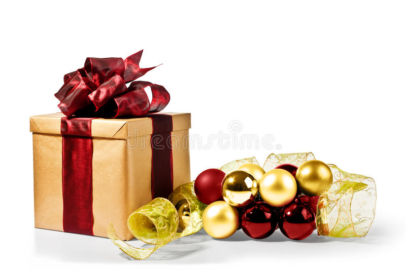 Download Christmas Present With Xmas Bubbles And Ribbon Stock Photo - Image: 20910760