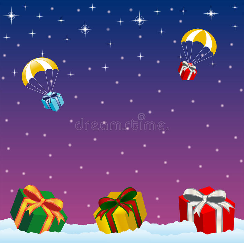 Christmas presents. Xmas postcard - starry night with Christmas presents lying in the snow stock illustration