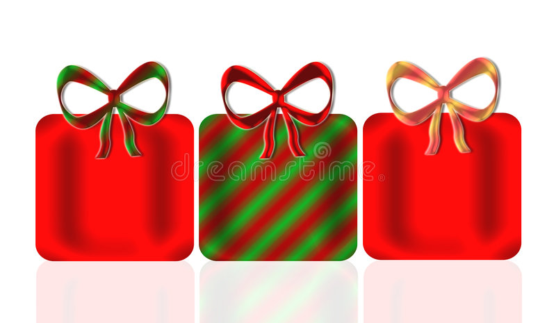 Christmas Presents. Three shining pretty presents and bows in Christmas colors of red, green, and gold with mirror reflection below for depth stock illustration