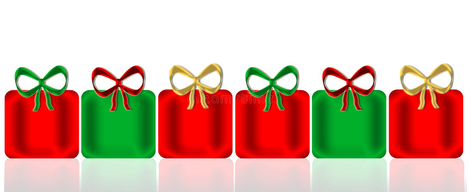 Christmas Presents. Six shining decorative presents and bows in Christmas colors of red, green, and gold with mirror reflection below for added depth and all on stock illustration
