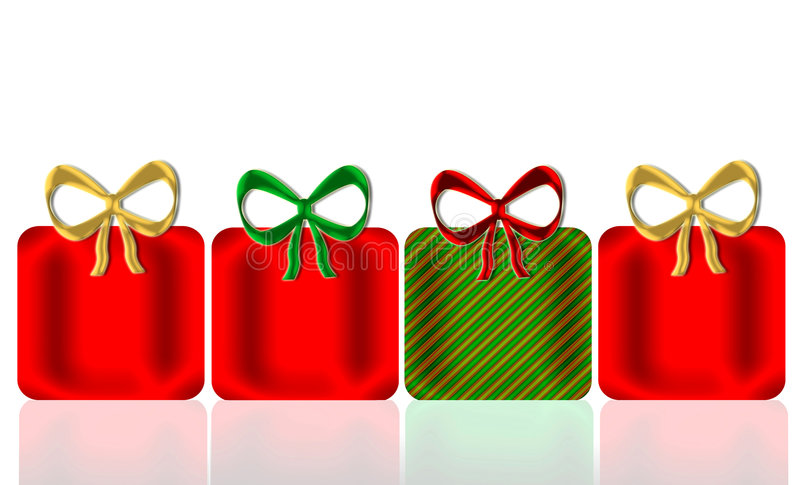 Christmas Presents. Four shining decorative presents and bows in Christmas colors of red, green, and gold with mirror reflection below for added depth and all on royalty free illustration