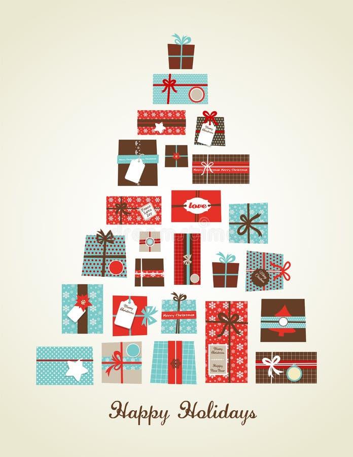 Christmas presents arranged as a seasonal tree stock illustration