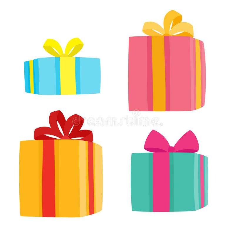 Christmas presents collection. Vector illustration of cartoon gifts. On white vector illustration
