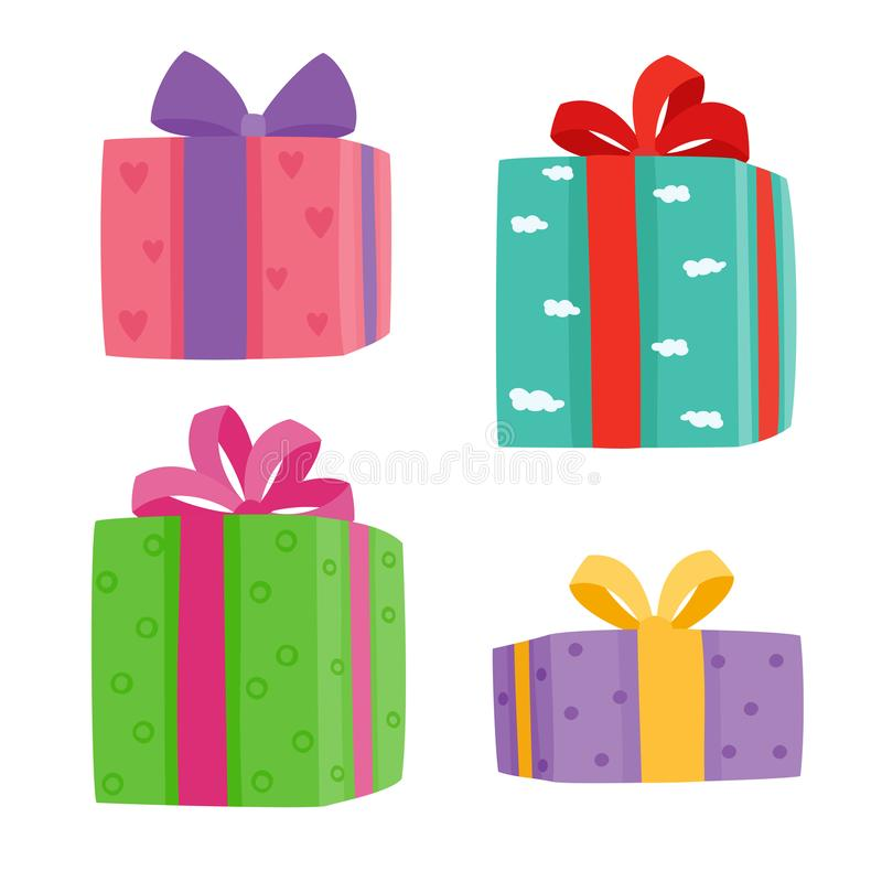 Free Christmas Presents Collection. Vector Illustration Of Cartoon Gifts Isolated On White Royalty Free Stock Images - 103871039