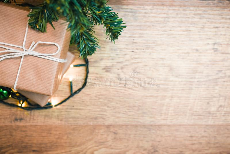 Christmas presents gift wrapped with bow and copy space in background for festive xmas message royalty free stock photography