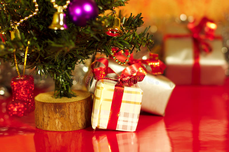 Download Christmas Presents Or Gifts Under Tree Stock Image