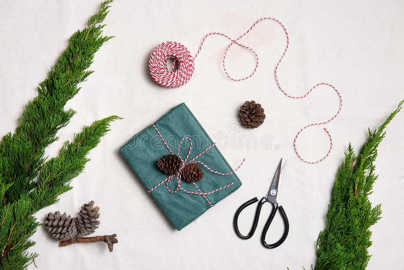 Christmas presents. Hand crafted gift. royalty free stock photo