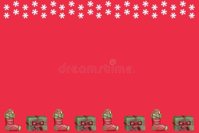 Christmas presents and snowflakes royalty free illustration