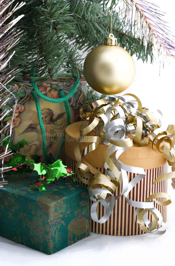 Christmas presents under tree royalty free stock photography