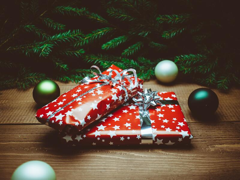 Christmas presents under tree royalty free stock photos