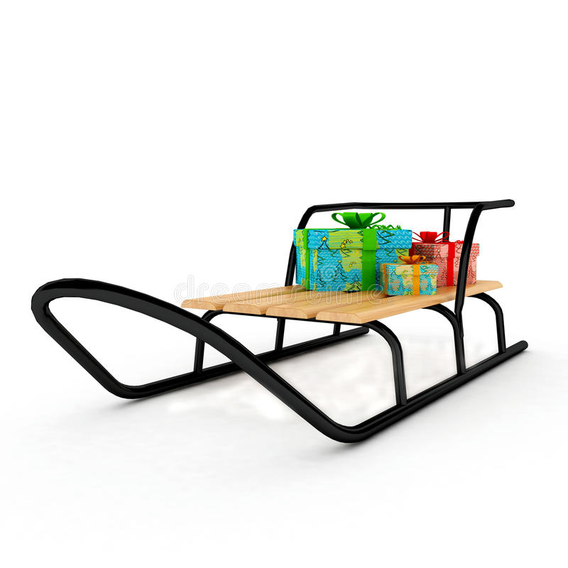 Christmas presents on a wooden sledge over white vector illustration