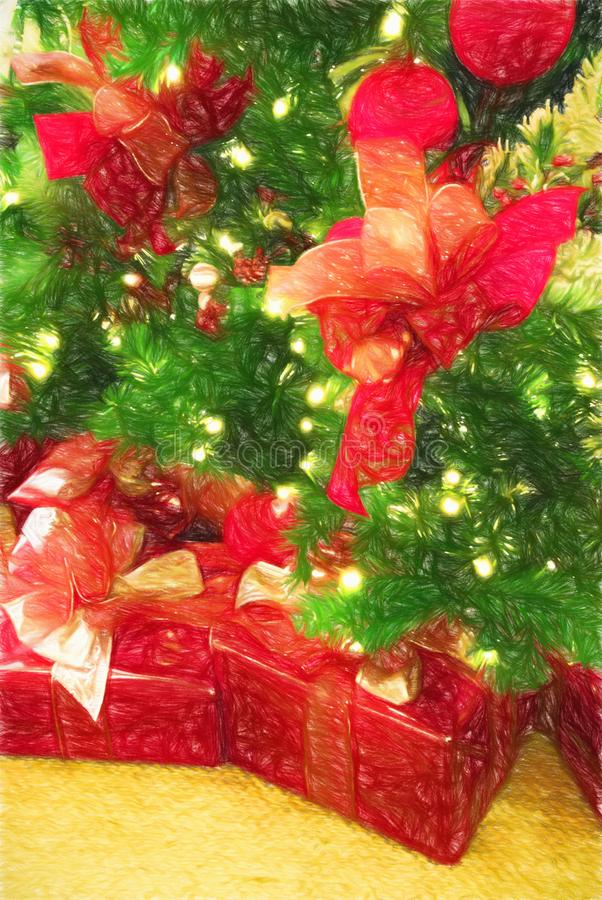 Christmas Presents Wrapped in Red Paper under a Holiday Tree royalty free illustration