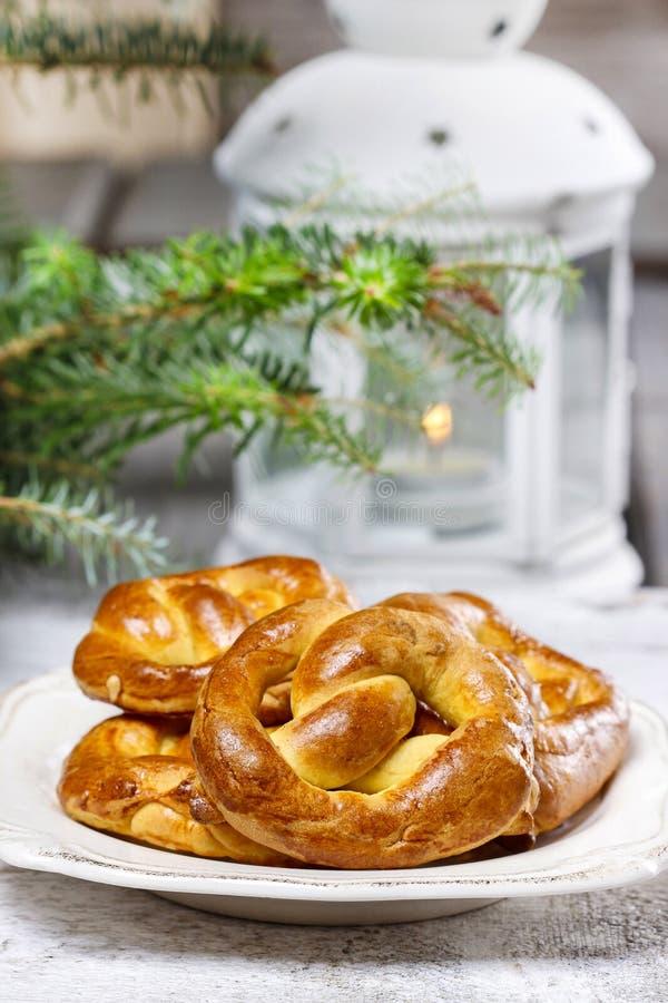 Download Christmas Pretzel Under Fir Branch Stock Photo - Image: 38801528