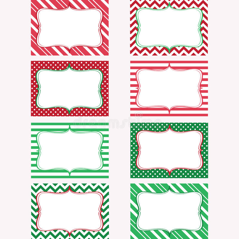 Christmas Printable Labels Set. Tags, Photo Frame royalty free illustration