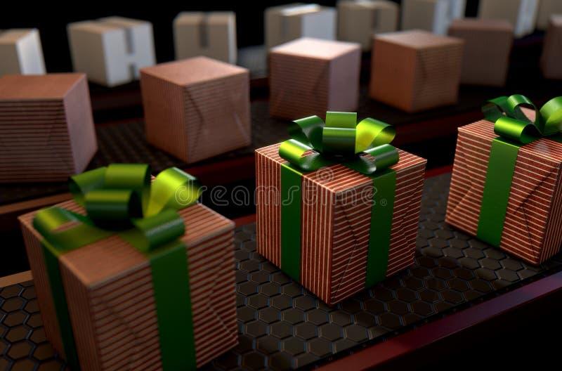 Christmas Production Line stock illustration