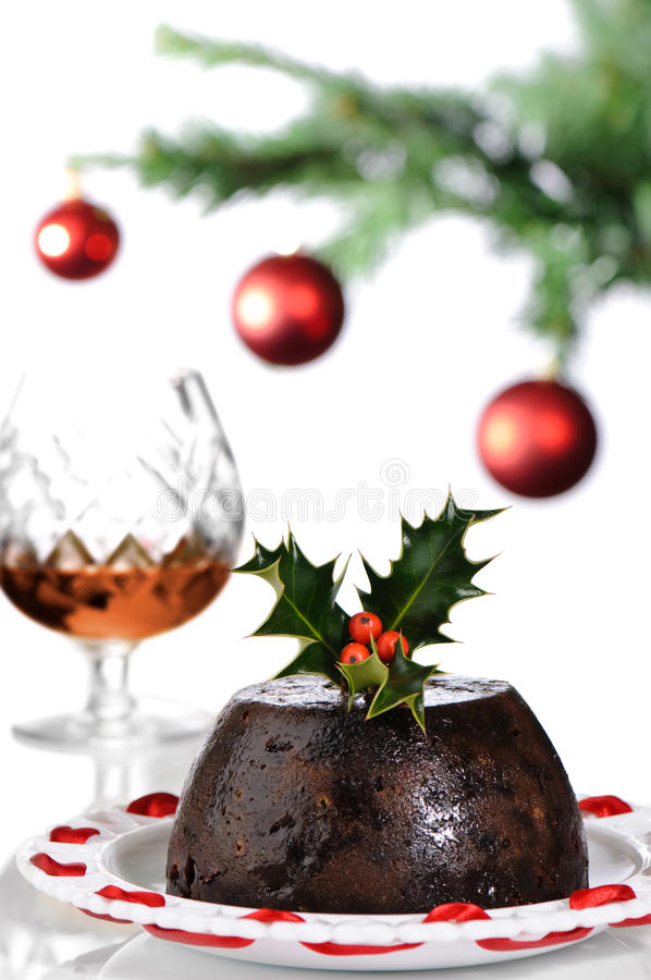 Christmas Pudding With Brandy stock photo