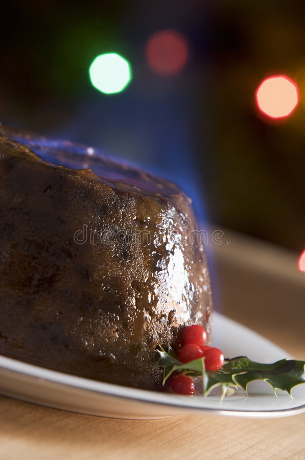 Christmas Pudding with a Brandy Flamb royalty free stock image