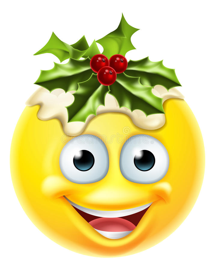 christmas pudding emoticon emoji stock vector image. Black Bedroom Furniture Sets. Home Design Ideas