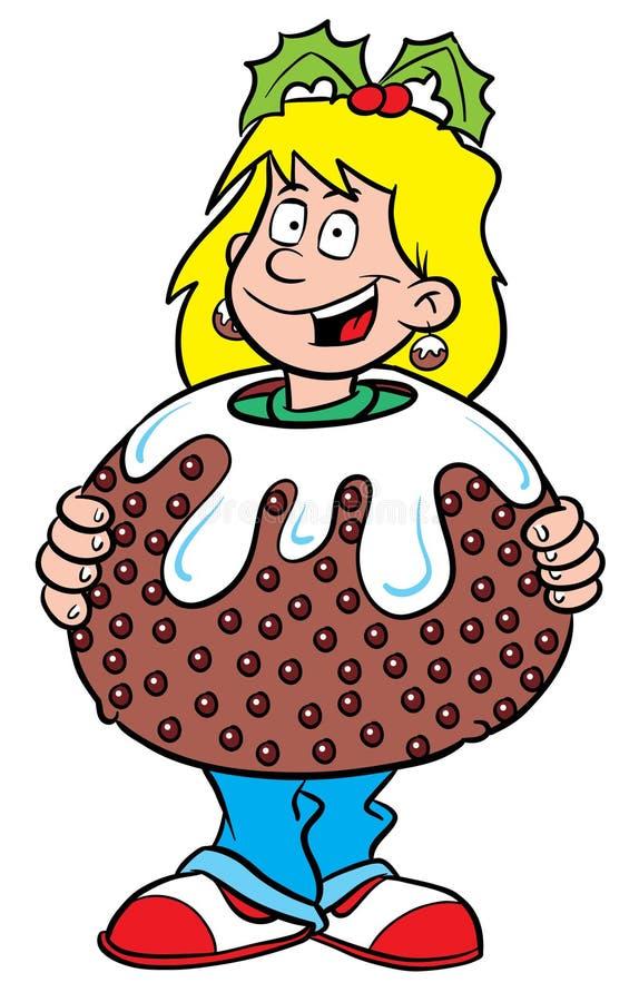 Christmas pudding girl stock illustration