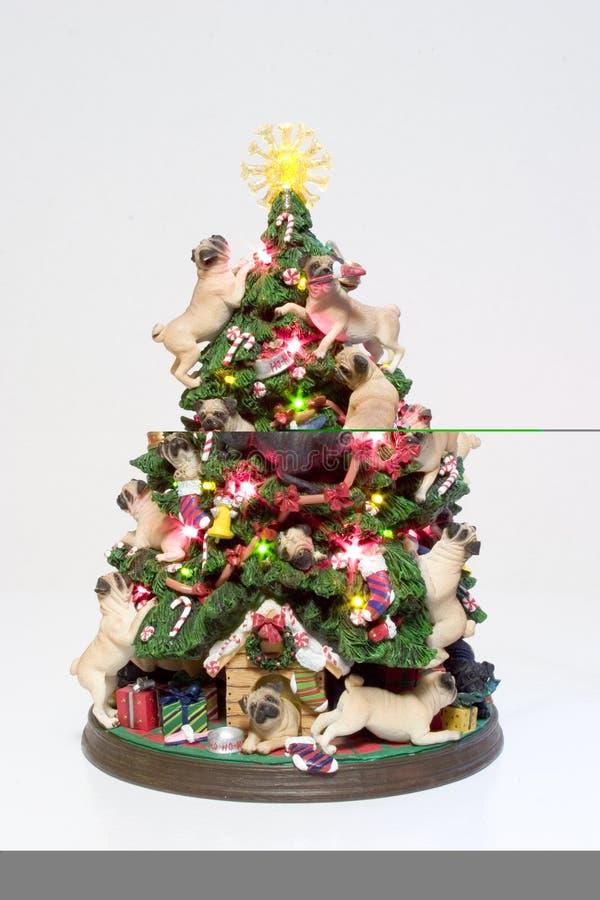 christmas pugs tree στοκ εικόνες με δικαίωμα ελεύθερης χρήσης