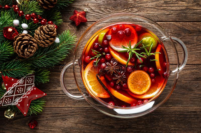 Christmas Punch. Festive Red Hot Toddy Cocktail, Drink