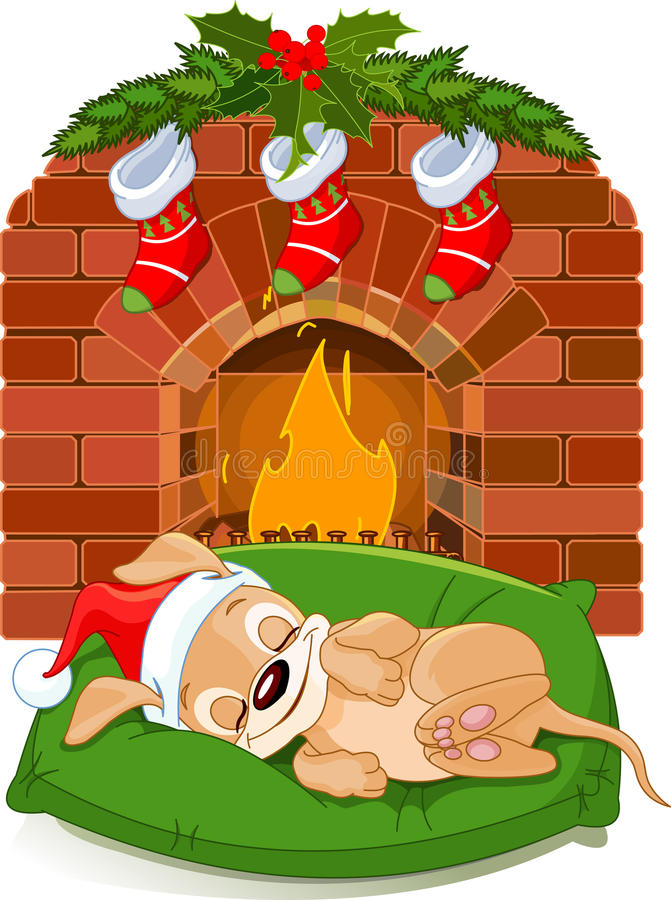 Christmas puppy near fireplace royalty free illustration