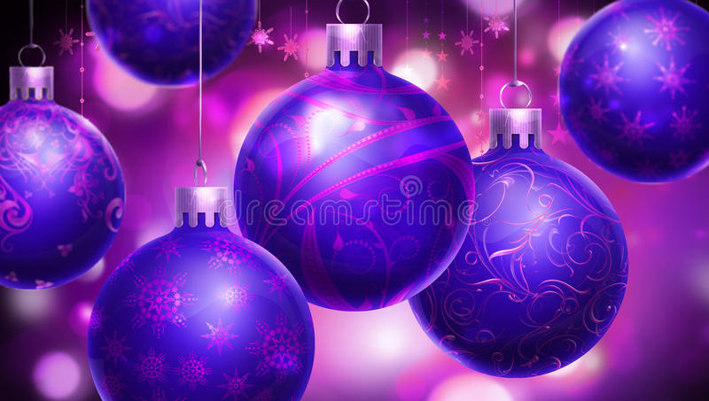 Purple Balls For Decoration Entrancing Christmas Purple Abstract Background With Big Decorated Blue Decorating Design