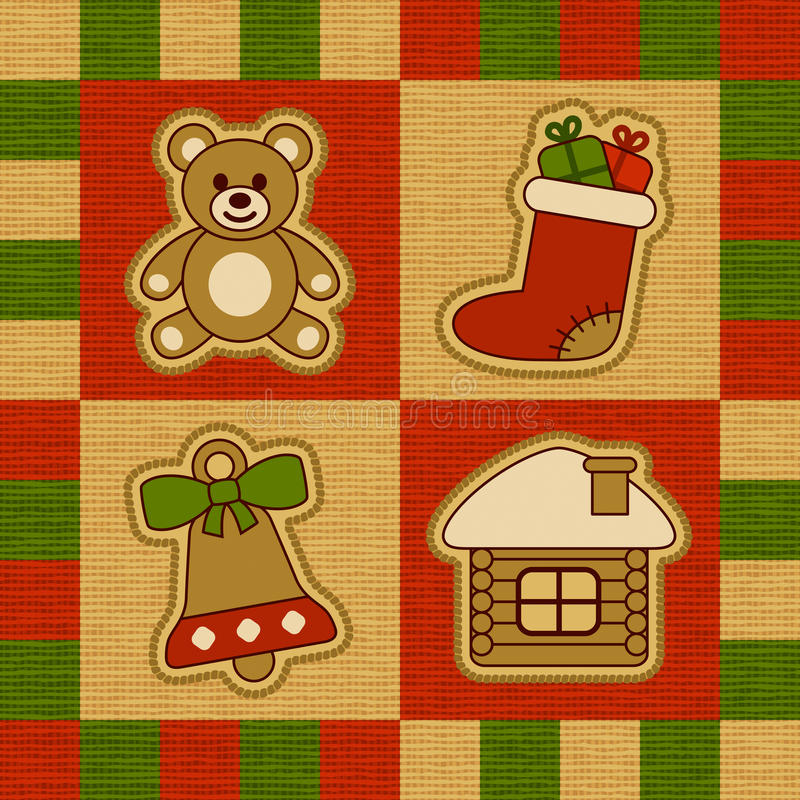 Christmas quilt. Decorative Christmas quilt with toys. Vector illustration stock illustration
