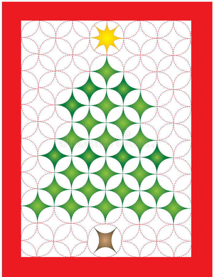 Christmas quilt. Illustration of a Christmas tree quilt royalty free illustration