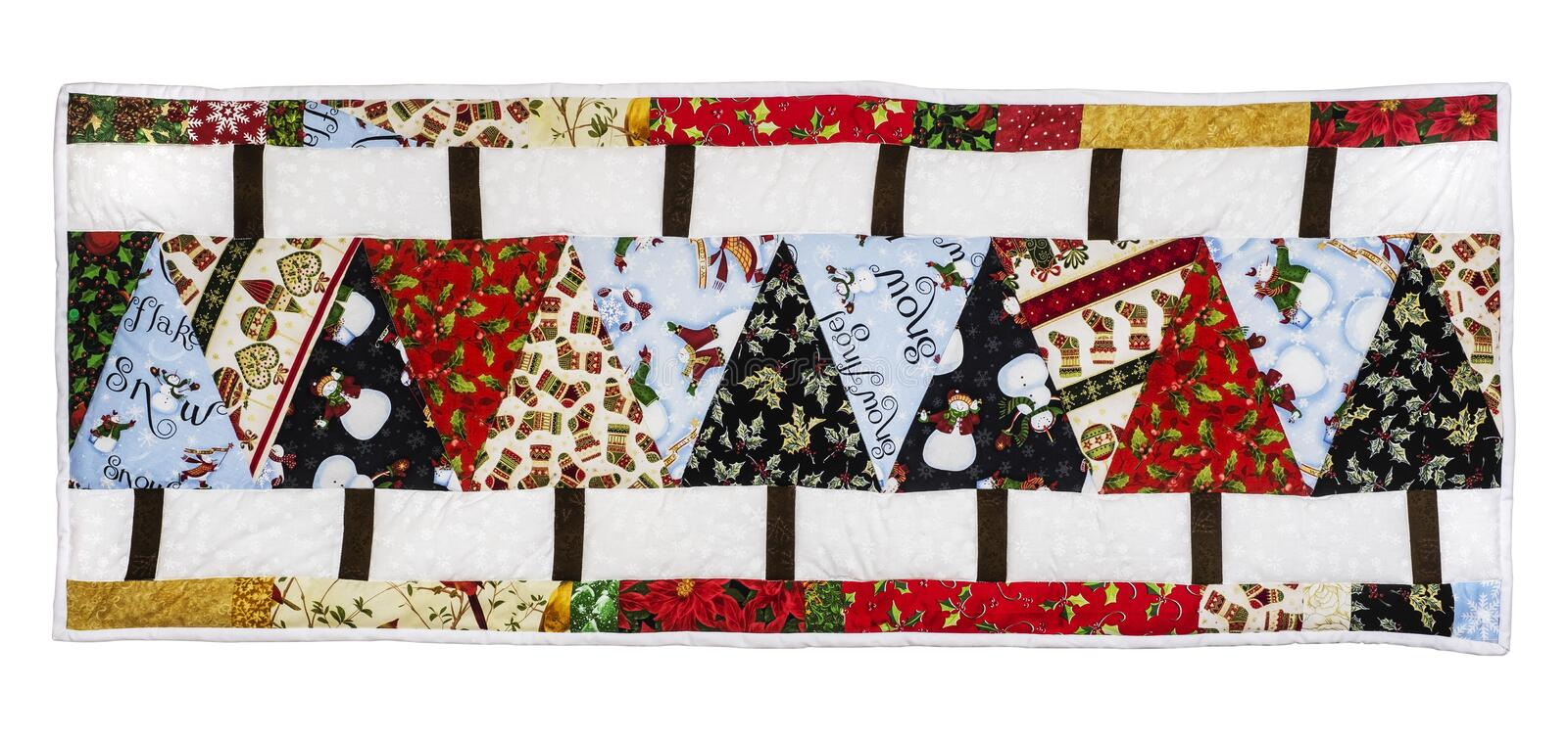 Christmas Quilt with trees. Christmas Quilt with border, colors fabrics on a white background with path icluded royalty free stock image