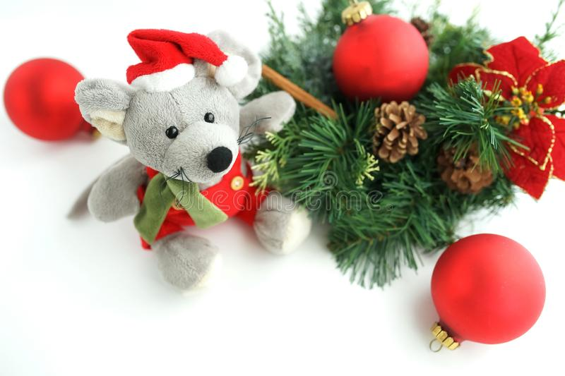 Christmas rat toy, symbol chinese happy new year 2020. Banner Christmas rat toy, symbol chinese happy new year 2020 . Xmas background.  Close up mouse in santa royalty free stock photo