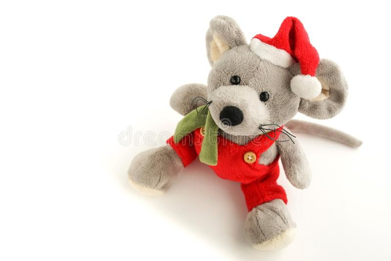 Christmas rat toy, symbol chinese happy new year 2020. Banner Christmas rat toy, symbol chinese happy new year 2020 . Xmas background.  Close up mouse in santa stock image