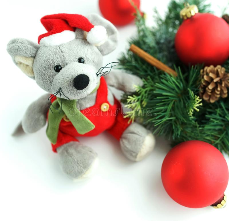Christmas rat toy, symbol chinese happy new year 2020. Banner Christmas rat toy, symbol chinese happy new year 2020 . Xmas background.  Close up mouse in santa royalty free stock photos