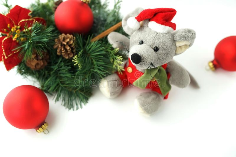 Christmas rat toy, symbol chinese happy new year 2020. royalty free stock photo