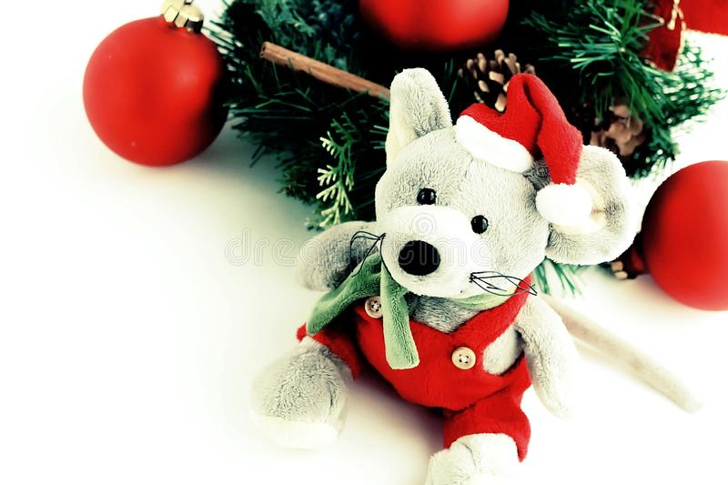 Christmas rat toy, symbol chinese happy new year 2020. Christmas rat toy, symbol chinese happy new year 2020 vintage toned. Xmas background.  Close up mouse in stock photo