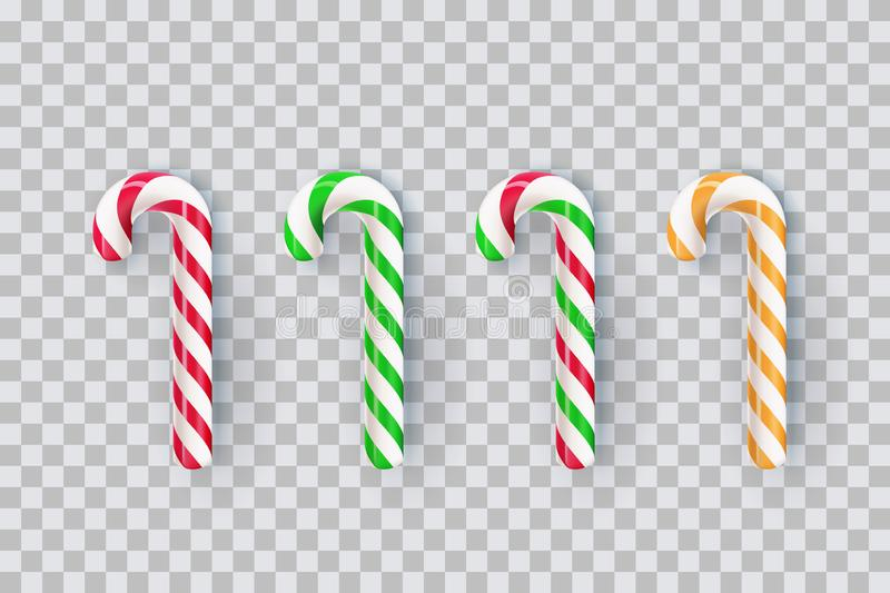Christmas realistic striped stick candy isolated on transparent background. Vector 3d sweet gift illustration royalty free illustration