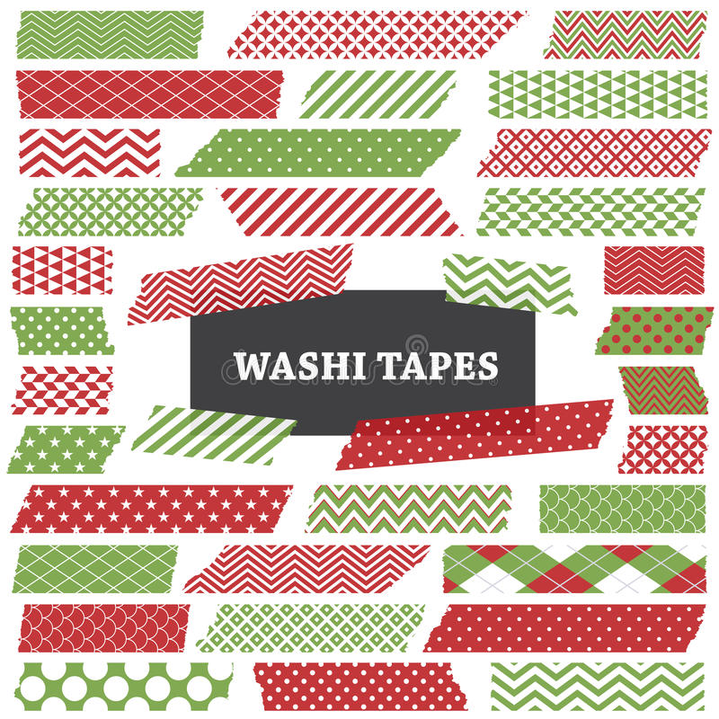 Free Christmas Red And Green Washi Tape Strips Clip Art Stock Photo - 35363500