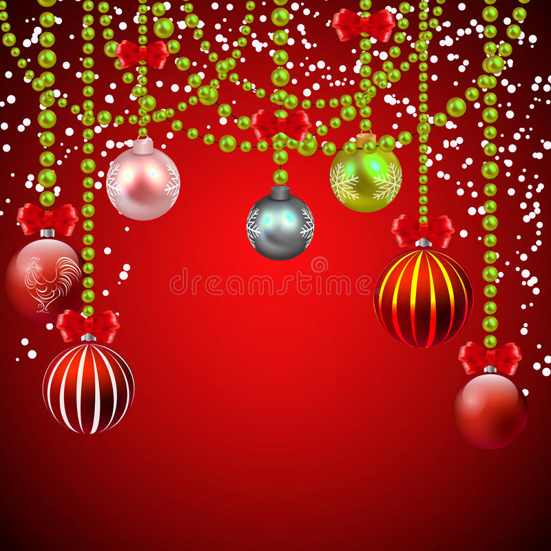 Christmas red background with decorations vector illustration