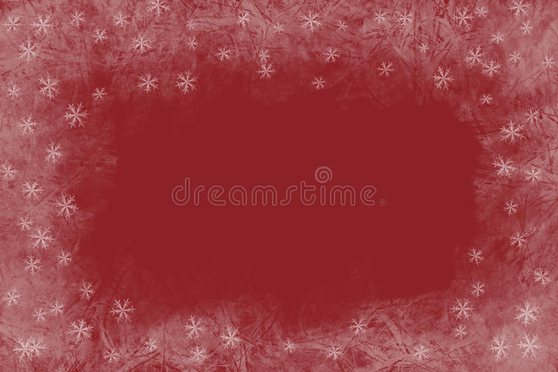Christmas red background with frozen pattern and shiny stars.Empty space for text stock photography
