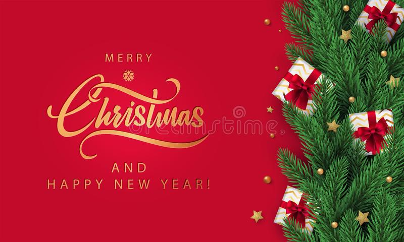 Christmas red Background with Season Wishes and border frame made of realistic Christmas tree and gift boxes in fir branches. Christmas red Background in stock illustration