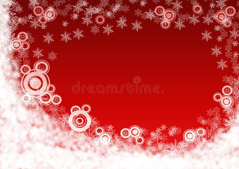 Christmas red background with snowflakes. stock images