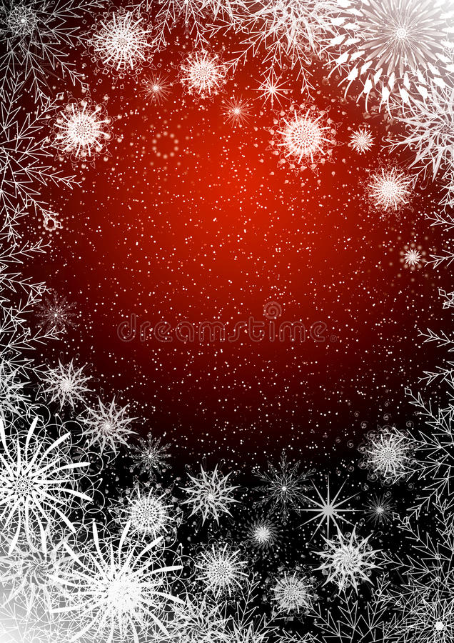 Christmas red background with snowflakes royalty free stock image