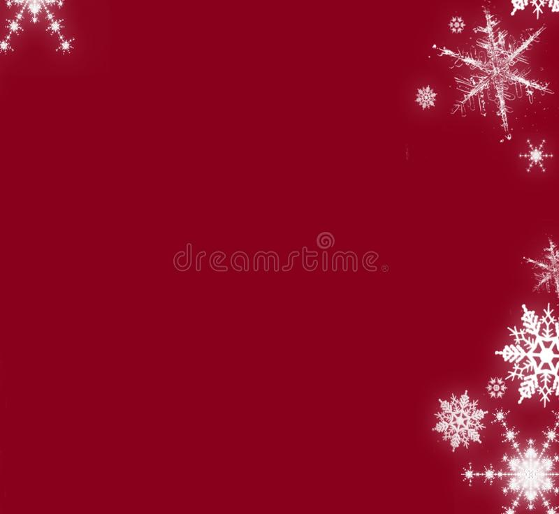 Christmas red background with snowflakes card stock illustration